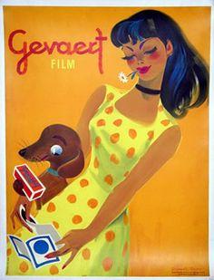 Gevaert Film for Cameras vintage advertising poster Donald Brun, 1949