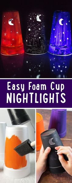 Easy DIY Nightlights made from a foam cup and a flashlight. Kids will have a blast making the nightlights and you'll love the minimal supplies needed.