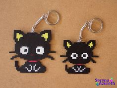 Cat keyring with perler hama beads Chococat? Perler Bead Designs, Pearler Bead Patterns, Diy Perler Beads, Perler Bead Art, Perler Patterns, Pearler Beads, Fuse Beads, Perle Hama Star Wars, Hama Mini