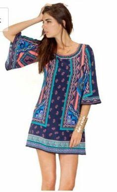 Flying Tomato New Women Casual Beautiful Bohemian Print Top Skirt Dress Size S | eBay