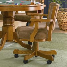 Coaster Durable Wooden Frame Soft Upholstered Seat Back Dining Game Arm Chair Casters