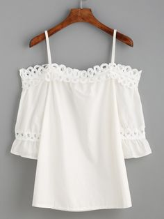 White Cold Shoulder Appliques Hollow Out Ruffle Blouse -SheIn(Sheinside)