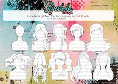 Mixed Media Templates ~ Portrait Face Full Bundle - Paperbabe Stamps - Mylar templates - For mixed media, paper crafting and scrapbooking. by PaperbabeStamps on Etsy