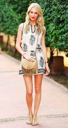 Poppy Delevingne // red lips, embroidered mini dress, fringe crossbody bag & gold flat sandals #style #fashion #summer
