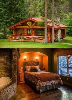 I love the bed nook- but not the bathtub in the bedroom Bed Nook, Log Cabin Living, Log Cabin Homes, Log Cabins, Cabin Design, House Design, Auf Dem Land, Cabana, Porches