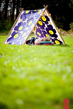 d158a55439 Marimekko Unikko vintage fabric in blue yellow and kids wooden tent frame I  made for
