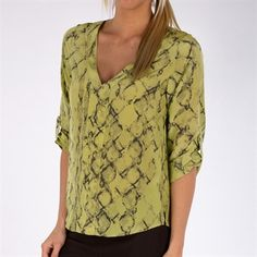 Willow & Clay Women's Contemporary Printed Silk Blouse #VonMaur #WillowandClay #VNeck