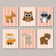 Items similar to Woodland Nursery Nursery Decor Wall Art Woodland Animals Forest Animals Forest Friends Raccoon Bear Owl Fox Set of 6 Prints Or Canvas on Etsy Nursery Wall Art, Girl Nursery, Woodland Nursery Boy, Tree Wall Art, Forest Friends, Forest Animals, Woodland Animals, Wall Art Quotes, Baby Boy Nurseries