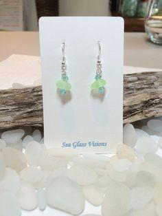 Sea Glass Earrings Aqua Green Sea Glass Drop by SeaGlassVisions