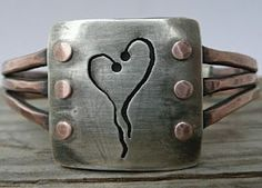 Handmade Jewelry by LjB: Triple Wire Cuff Bracelet 10 gauge wire riveted to a silver top and copper back.