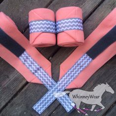 Coral polos with grey chevron trim polo wraps by WhinneyWear  www.whinneywear.com