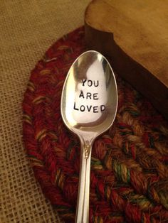 Hand Stamped Silver Spoon, Valentine's Day Gift, Girlfriend Gift, Boyfriend Gift, Stamped Vintage Spoon, Daughter Gift, Engraved Spoon $15