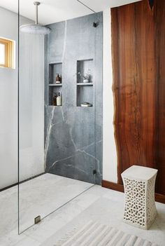 Soulful Home Master Shower with Soapstone and Walnut Slabs on Wall Bath Contemporary by Staprans Design Parisian Bathroom, Modern White Bathroom, Modern Bathroom Design, Beautiful Bathrooms, Bathroom Interior, Interior Design Portfolios, Decor Interior Design, Interior Decorating, Master Bathroom Shower
