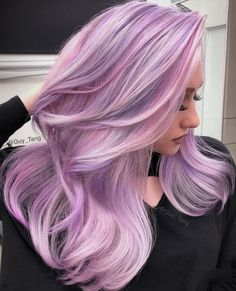 55 Dreamy Lilac Hair Color Ideas: Lilac Hair Dye Tips - Glowsly Lilac Hair Dye, Pastel Pink Hair, Hair Color Purple, Blonde Color, Cool Hair Color, Hair Colors, Soft Purple, Gray Hair, Pastel Colors