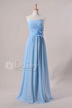 Light Blue Chiffon Prom DressSweetheart Long by DaisyBridalHouse, $105.00