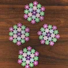 Floral coaster set perler beads by bambi1231