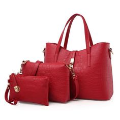 Ladies Three Piece Crocodile Grain Bag Sets Crocodile, Grains, Lady, Silver, Blue, Style, Purses, Totes, Swag