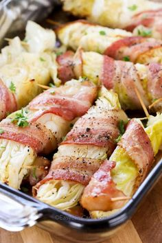 BACON WRAPPED CABBAGE This easy side dish is low carb and keto friendly. Cabbage wrapped in bacon & cooked to tender perfection is the perfect side dish for any meal! Low Carb Side Dishes, Side Dishes Easy, Side Dish Recipes, Bacon Recipes, Vegetable Recipes, Low Carb Recipes, Snack Recipes, Baked Cabbage Recipes, Healthy Recipes