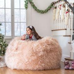 Lachlan Furry Bean Bag - Pastel Pink - Christopher Knight Home, Adult Unisex Pastel Room, Pastel Pink, Pink Room, Fluffy Bean Bag Chair, Pink Bean Bag, Faux Fur Bean Bag, Toddler Furniture, Kids Bean Bags, Pink Faux Fur