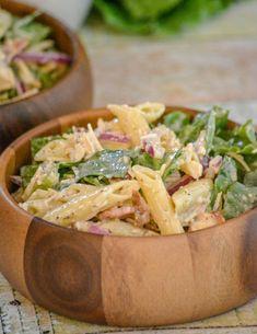 Chicken Caesar Pasta Salad - 4 Sons 'R' Us Chicken Caesar Pasta Salad, Rotisserie Chicken Salad, Ceasar Salad, Chicken Salads, Chicken Pasta, Dinner Entrees, Dinner Menu, Dinner Sides, Dinner Recipes