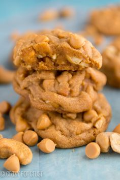 The softest Butterscotch Pudding Cookies EVER! Made with brown sugar and filled with cashews!
