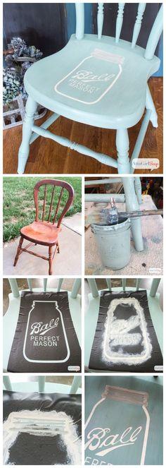 Mason Jar Stenciled Chair