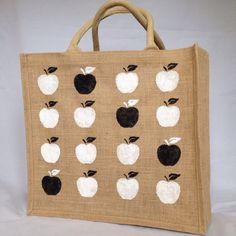 Hand painted jute apple pattern shopping bag- large. Burlap gift bag, hessian tote bag- black & white market/ sewing bag