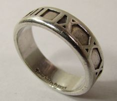 d9c4da7df Details about 1995 TIFFANY & CO ATLAS ROMAN NUMERAL STERLING SILVER RING  BAND SIZE 9.75