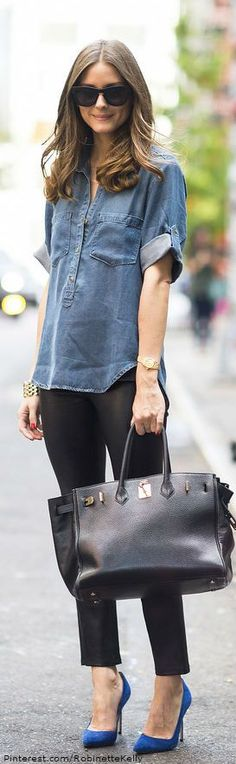 #fall #fashion / Olivia Palermo denim shirt