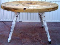 Rustic Round Table - Upcycled and Recycled from a Wire Spool