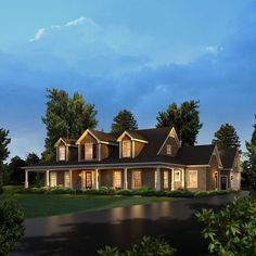 Rachel Country House Plan. Retract bdrm 3 to make another room for seperate office. Add the media theater room basement with maybe a craft/woodworking attachment room of basement under garage.