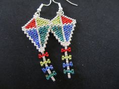 Red, Yellow, Green, Blue, Silver Kite Peyote Earrings