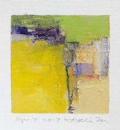 Dies ist ein Original abstrakte Gemälde von Hiroshi Matsumoto  Titel: 7. April 2017 Größe: 9,0 x 9,0 cm (ca. 4 x 4) Leinwandgröße: 14,0 x 14,0 cm (ca. 5,5 cm x 5,5 cm) Medien: Öl auf Leinwand Jahr: 2017  Dies ist meine alltäglichen Malerei genannt 9 x 9-Malerei und der Titel ist das Datum, das ich dieses Gemälde schuf.  Malerei kommt mit Matten.  Gemälde ist maskiert grauweiß (nicht enthalten) 8 Zoll x 10 Zoll-standard-Rahmen passen und mit Echtheitszertifikat, vom Künstler handsigniert…