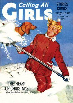 """""""Calling All Girls"""" cover dachshund ~ December 1959 ~ Vintage Dachshund, Dachshund Art, Vintage Dog, Vintage Children, Daschund, Scottish Terrier, Dog Love, Puppy Love, Journal Vintage"""