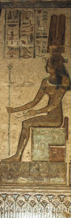 the Goddess Maat-Amentet enthroned (below the throne, lotuses and papyrus-plants, symbols of Upper and Lower Egypt); from the Temple of Hathor and Maat, West Diospolis Megale, Thebes