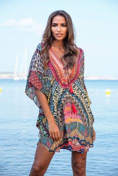 1ca9a5e2c70e Kitten Beachwear Petra Multicolour Deep V Neck Knee Length UK Size 8-14 (US  Size 4-8) Kaftan with Long Sleeves and lace up neck with tassels