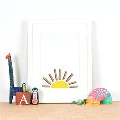 Rainbow Sun print by Ingrid Petrie Design, available at ingridpetriedesign.bigcartel.com