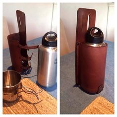 Custom made leather bottle holder, for Klean Kanteen and GSI mug. It's adjustable.