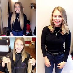 This woman, who generously donated 12 inches of her hair to a charity that makes wigs for children who can't grow hair due to illness.