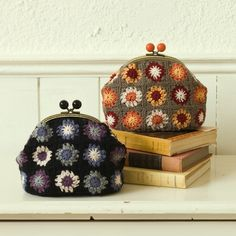 These are adorable.  I'm loving the vintage feel.  Such sweet mini granny squares. Inspiration.