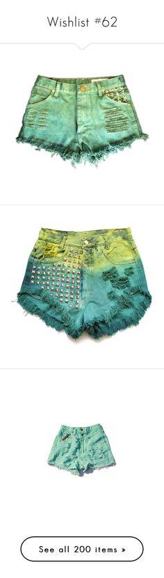 """Wishlist #62"" by lullabycake ❤ liked on Polyvore featuring shorts, cutoff shorts, cut off shorts, kelly green shorts, bottoms, high-waisted shorts, highwaist shorts, high rise shorts, studded high waisted shorts and high waisted shorts"