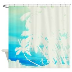 softened polyester, hangs from 12 stitch-enforced eyeletsShower curtains are professionally printed. Design will look great with d Beach Shower Curtains, Custom Shower Curtains, Coastal Decor, Palm Trees, Tropical, Scene, Stitch, Printed, Artist