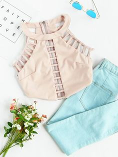 Ladder Cut Out Crop Top with minty jeans