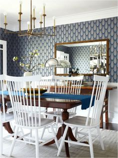 Style Mix: Wood Tables + White Chairs. Plus decor tips when it comes to transitional design.