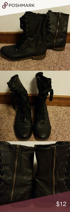 Black Combat Boots Re-posh.  Received these and realized they weren't my style.  They are super cute tho and in great condition! Shoes Combat & Moto Boots