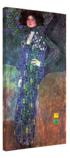 Emilie Floge by Gustav Klimt Framed Stretch Canvas Wall Art Home Decor