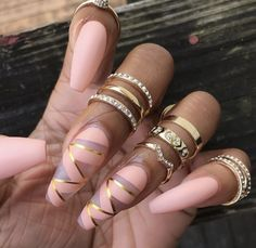 Pink and Gold Nails..