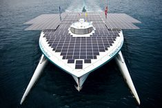 Planetsolar has completed its journey as the first solar powered boat to circle the world. The top of the catamaran is covered in a spread of photovoltaic panels and over 38,000 solar cells that fueled six blocks of massive lithium-ion batteries. Advanced engineering and science created a boat that uses marginally less energy than standard motorized boats of its size. An aerodynamic and energy efficient design makes the Planetsolar the new wave of aquatic engineering.