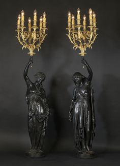 "a-l-ancien-regime: "" Albert-Ernest Carrier-Belleuse A Fine Pair of Bronze Figural Torchères French, Circa The torchères modelled as classical female figures with torches held aloft. Candle Stand, Candle Holders, Antique Collectors, Chandelier Lamp, Chandeliers, Bronze, Gothic House, Rococo, Decorative Objects"