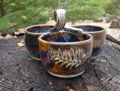 Greg Olson hand thrown pottery condiment pot